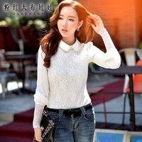 T áo 2016 mùa thu và mùa đông mới mỏng nữ dài tay t-shirt thời trang màu trắng retro tops bán buôn