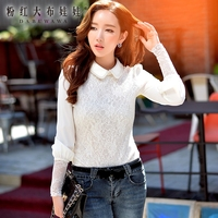 t shirt 2016 autumn and winter new slim female long sleeved t-shirt white fashion retro tops wholesale