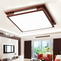 Wooden Ceiling Lights Chinese Style Rectangular Acrylic Living Room Bedroom Hall Retro Light Fixtures Ceiling Lamps