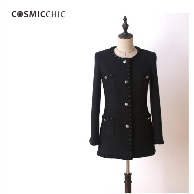 Manteau tweed femme noir