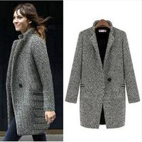 Fashion Long Woolen Women Coat Female Plus Size Winter Plaid Jacket 2018 Wool Blend Cape Coat Tweed Outwear.