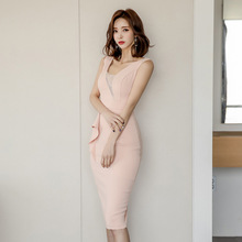 цена Plus Size Summer 2019 Elegant OL Office Work Dress Women Sleeveless Corset Bodycon Wrap Dress Women Pink Sheath Dress Vestidos