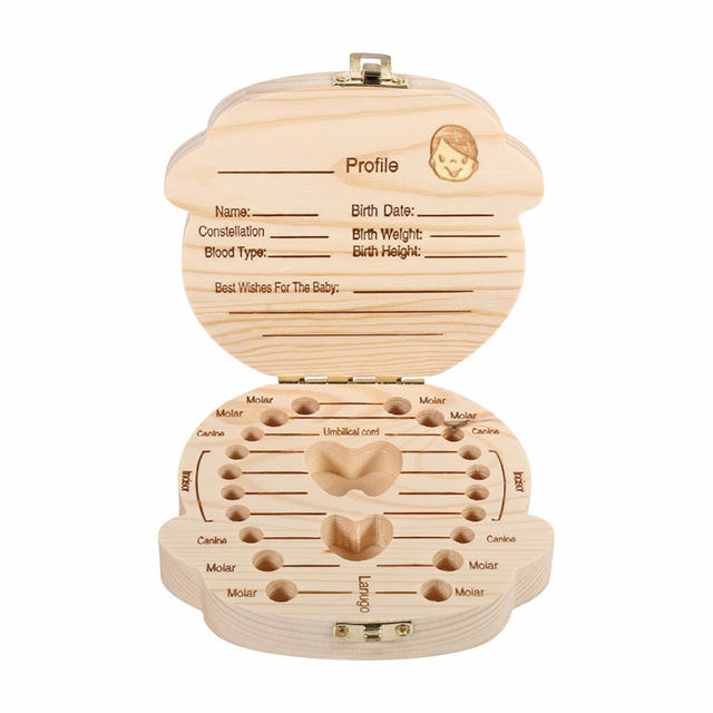 Online Shop SEREQI English Wooden Baby Tooth Storage Box Organizer