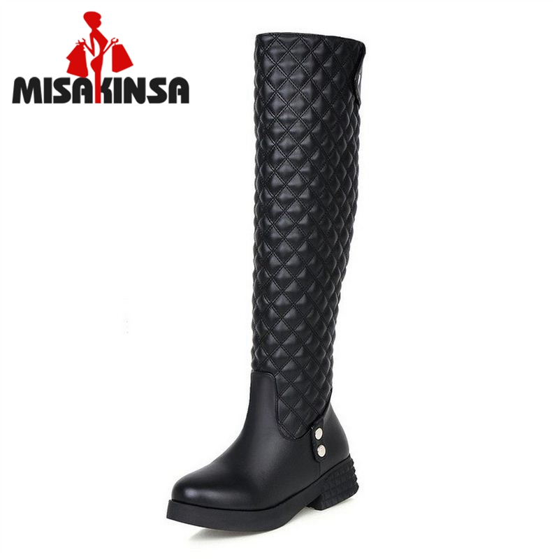 Women Flat Over Knee Boots Ladies Riding Fashion Long Snow Boot Warm Winter Brand Botas Female Footwear Shoes Size 34-40