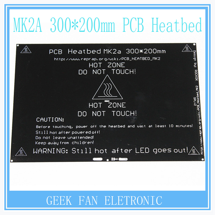 RepRap MK2A 300*200*3.0mm Heated Bed Ramps 1.4 PCB Aluminum Heatbed MK3 Heated Bed For 3D Printer Parts R205 updated high temperature 120 degree 220 220 3mm 3d printer aluminum mk3 pcb heatbed dual power heat bed alu hotbed