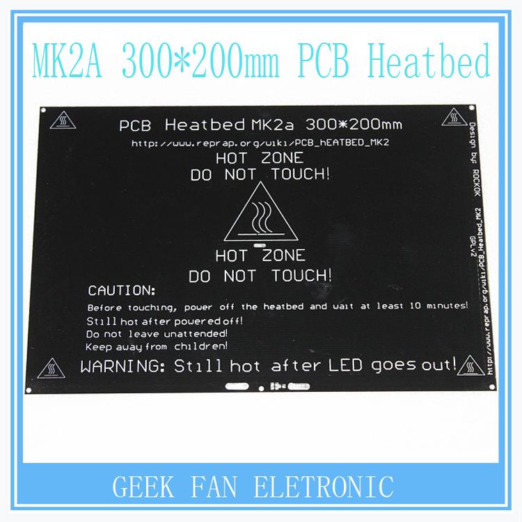 Prix pour Reprap Mk2a 300*200*3.0mm Chauffée Lit Rampes 1.4 PCB En Aluminium Heatbed MK3 Chauffée Lit Pour Imprimante 3D Pièces R205