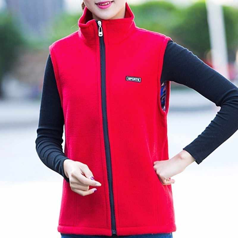 2018 秋の女性フリースベストジャケットフリース生地ノースリーブベストスポーツウェアスリムフィットチョッキプラスサイズ L-4XL