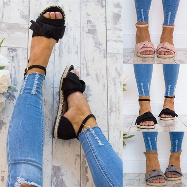 Womens Sandals Rome Flats Sandals for 2019 Summer Shoes Woman Peep Toe Casual Shoes Low Heels Sandalias Mujer Plus Size 35-43