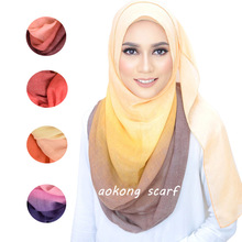 Women Hijabs Solid Gradient Color Twill Creased Wrinkle Scarf Cotton and Linen Muslim Headscarf Lady Hood Turban Beach Towel