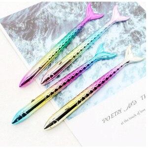 Image 5 - Lote de bolígrafos de gel kawaii de moda, bolígrafos para la escuela de sirena marina, materiales de escritura para oficina, papelería coreana, 50 Uds.