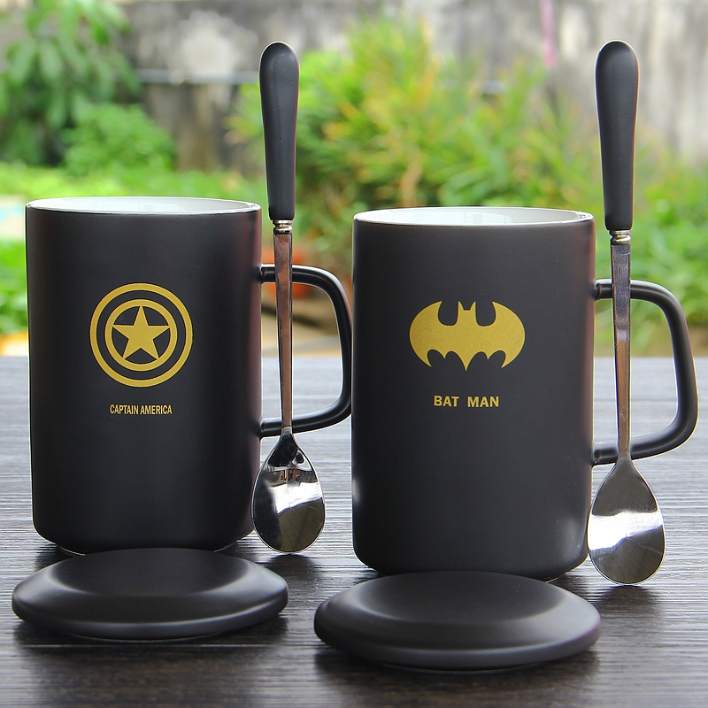 Coffee Cup Mug With Lid And Spoon Superman Spiderman Batman Mug High Quality Ceramic Coffee Cup