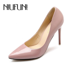 7.5/8.5/10.5cm sexy women's fashion high heels  fashion patent leather shoes women pointed toe ol slip on ladies pumps