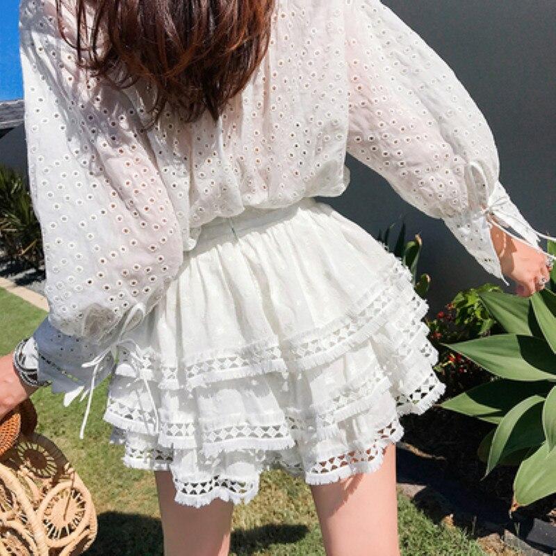 COLOREE mignon femmes jupe courte 2019 été blanc une ligne élégante taille haute décontractée jupe de gâteau
