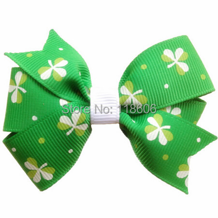 150pcs St. Patricks Day Shamrock -- F lower Shaped Hair Bow Free Shipping ...