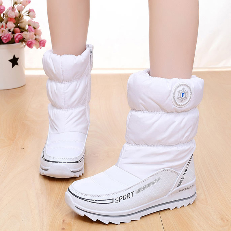 snow boots thick plush winter shoes waterproof zipper women