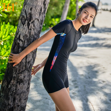 361 Women One Piece Swimsuit Ladies Short Sleeves Zipper Slim and Professional Sports Pool Swimming Suit Gril Bathing