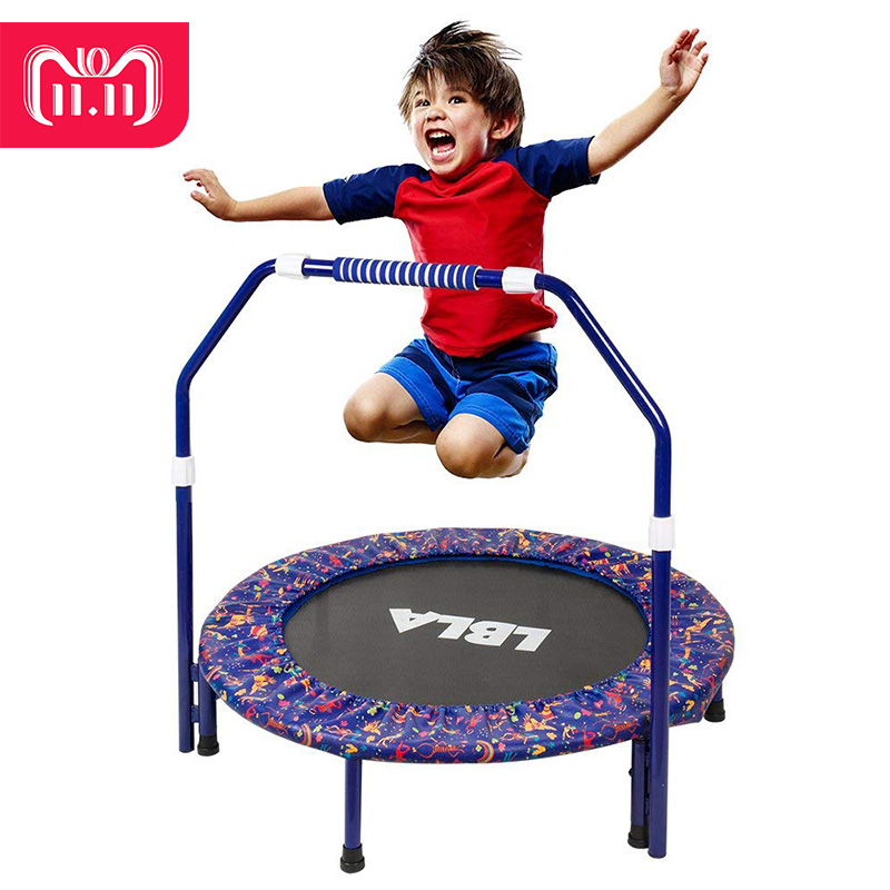 LBLA Kids Indoor Springs Trampoline Jump Adjustable Handrail Safety for Children Foldable Trampolines Net with Cover Mat 16 feet high quality practical trampoline with safe protective net jump safe bundle spring safety with ladder load weight 700kg