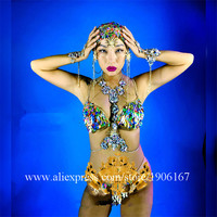 Ночной клуб Для женщин разноцветными стразами бикини одежда танцевальная команда Для женщин костюмы богиня пикантные женские вечерние пла