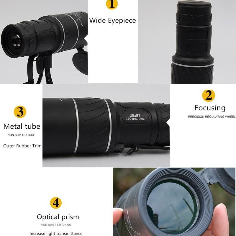 30X52 Powerful Monoculars Telescope Night Vision Monocular with Bracket Optical Len 100Mx8000M HD Professional Hunting Binocular in Monocular Binoculars from Sports Entertainment