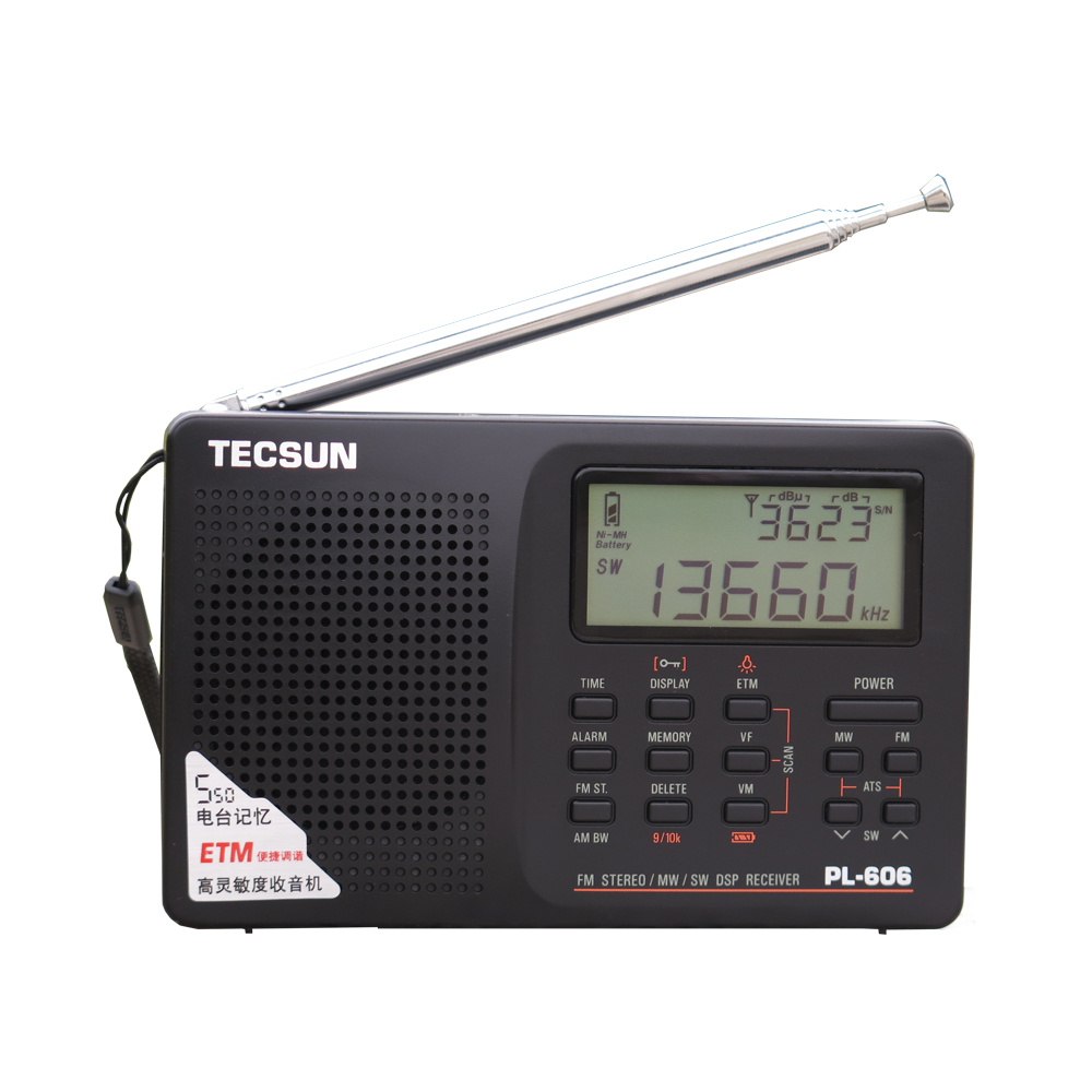 Tecsun PL-606 Digital PLL Portable Radio FM Stereo/LW/SW/MW DSP Receiver Black tivdio v 116 fm mw sw dsp shortwave transistor radio receiver multiband mp3 player sleep timer alarm clock f9206a