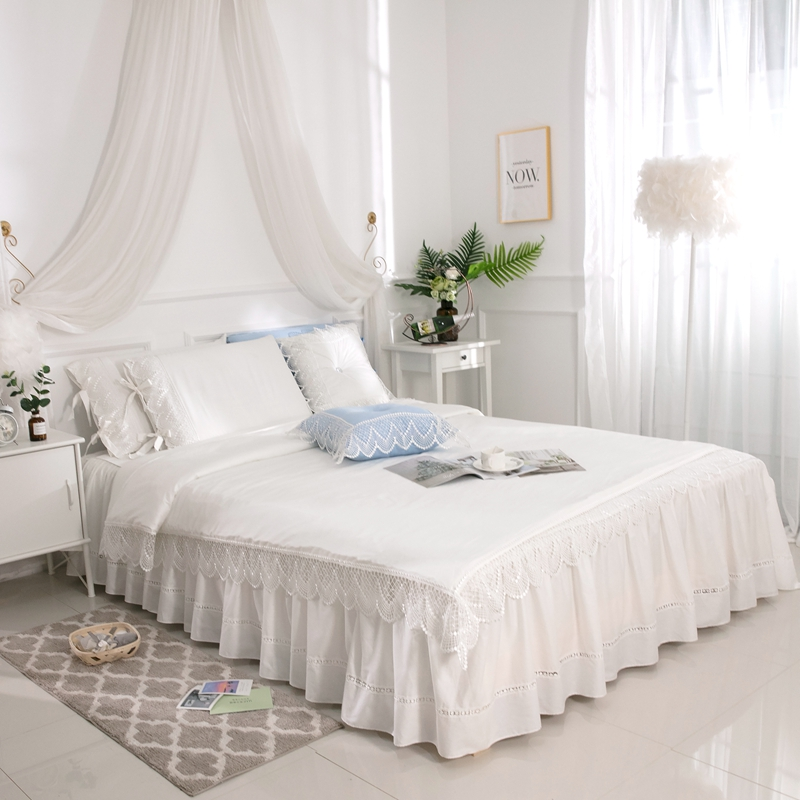 White Lace Princess Wedding Luxury Bedding Set King Queen twin Pure cotton Bed skirt Duvet Cover Bedspread Pillowcase bedclothesWhite Lace Princess Wedding Luxury Bedding Set King Queen twin Pure cotton Bed skirt Duvet Cover Bedspread Pillowcase bedclothes