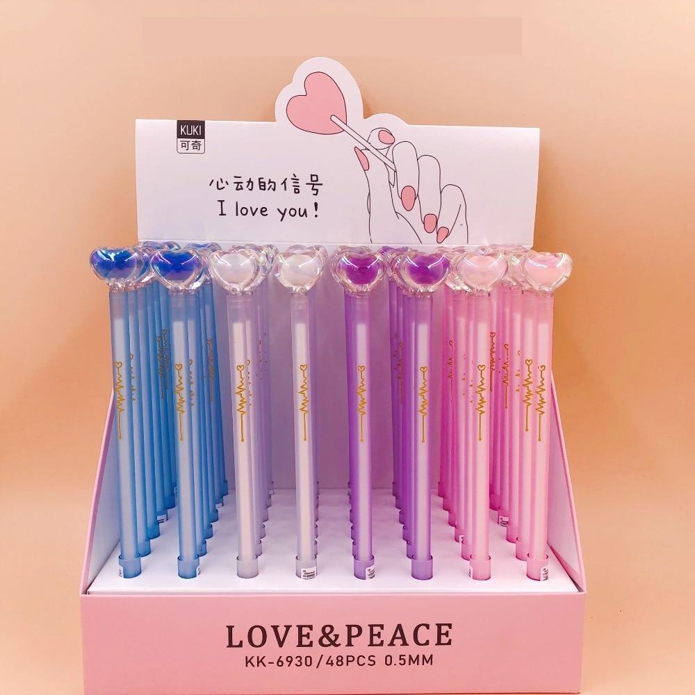 48 sztuk/partia cute cartoon kryształ miłość długopis żelowy Korea kreatywny wody pióro atramentowe znak pióro szkolne biuro prezent pen w Długopisy żelowe od Artykuły biurowe i szkolne na  Grupa 2