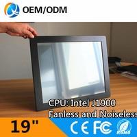 Aluminum Black 19 Inch Fanless Noiseless Industrial Panel Pc 1280x1024 Inter J1900 CPU