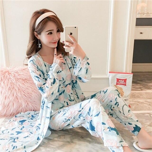 49ba30365452 Pyjamas Women 3 in 1 Women Nightwear Set Sexy Girl Sling Pajamas Casual Home  Wear Woman Clothes