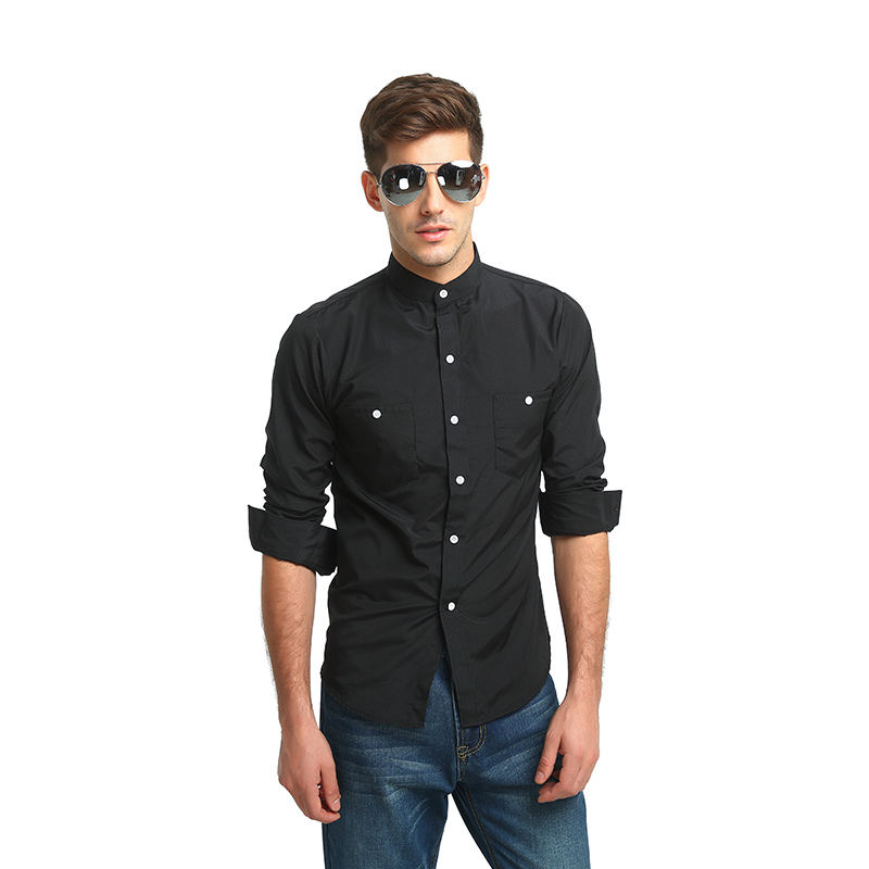 Men Shirt Boutique 2018 Male High Quality Long Sleeve Shirts Casual Hit Color Slim Fit Black Man Dress Shirts M-3XL Q369