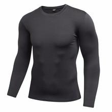 Быстросохнущая черная компрессионная Мужская Повседневная рубашка с длинными рукавами и физическим слоем, мужские футболки для занятий спортом