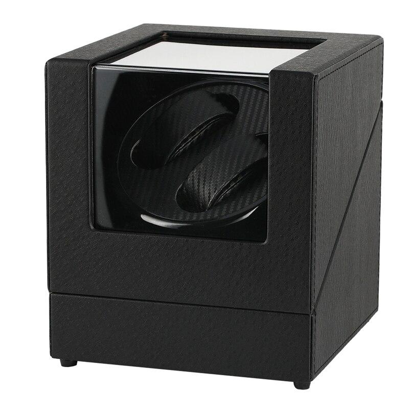 Automático ver caso devanadera soporte mecánico reloj de doble cuerda organizador de pantalla de lujo Motor Shaker PU cuero caja giratoria