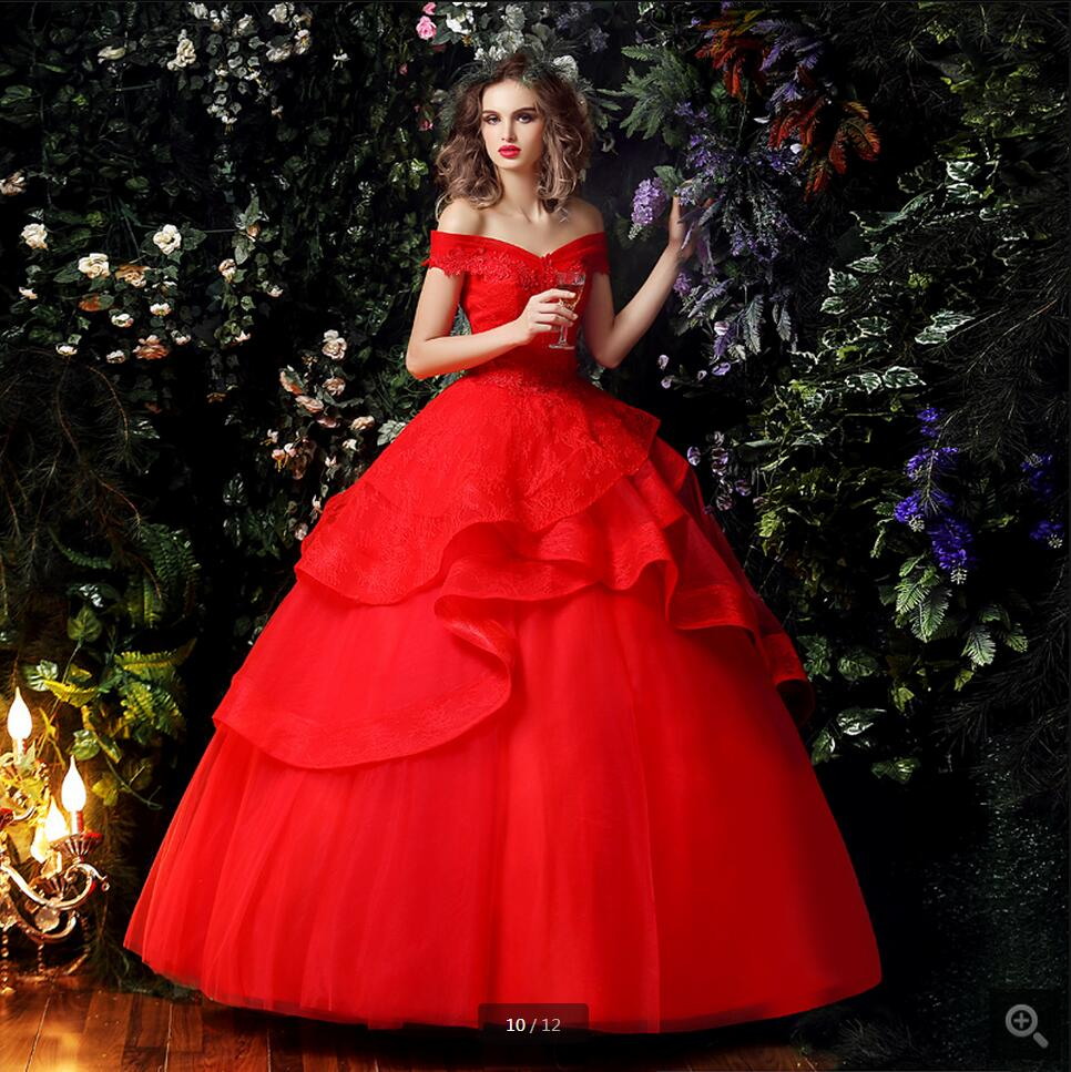 Wedding Gown With Neck Detail: 2016 New Designer Ball Gown Red Off The Shoulder Wedding