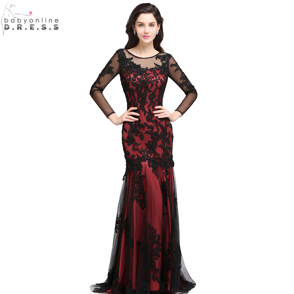 Sexy Sheer Lace Beaded Burgundy Mermaid Prom Dresses Long ...