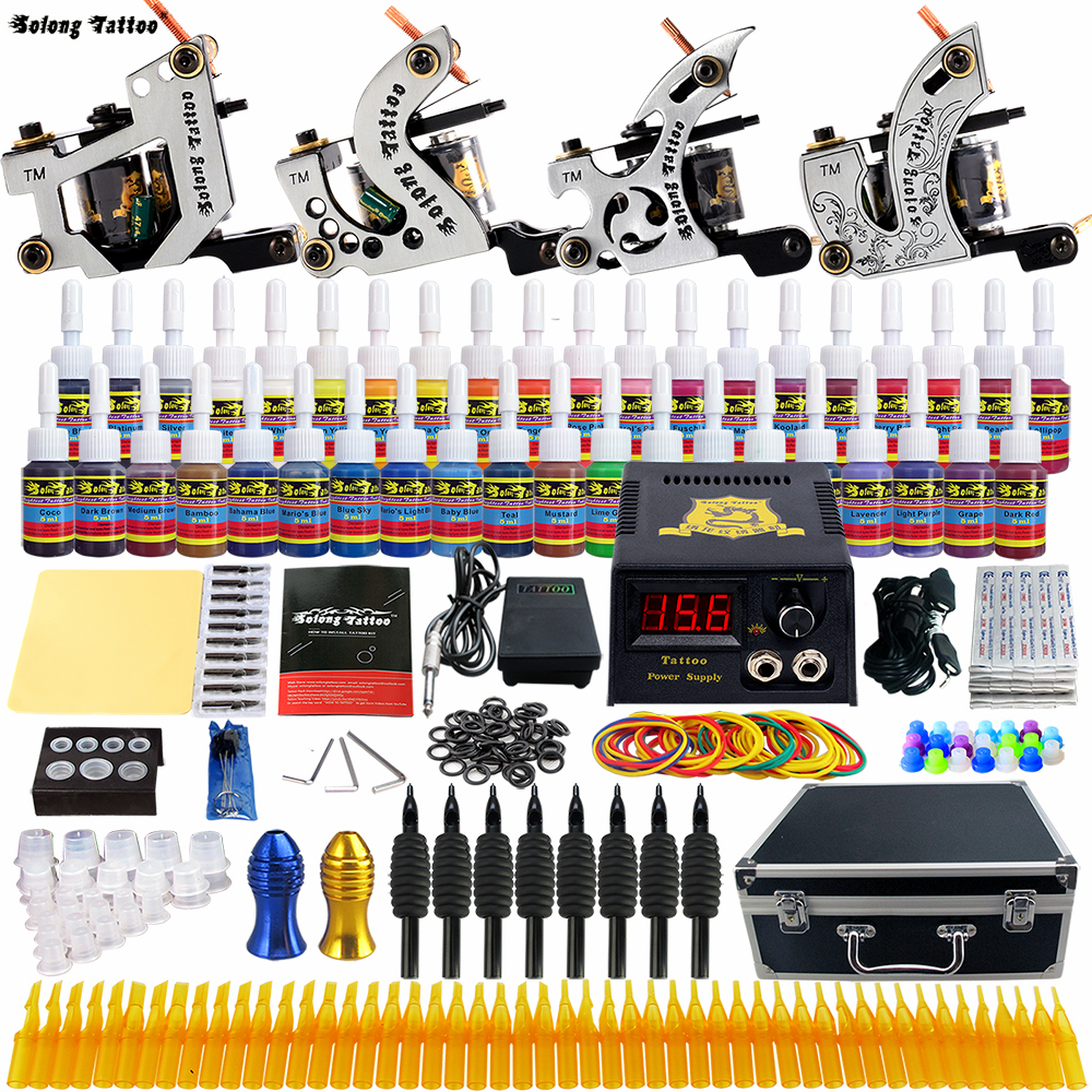 Solong Tattoo Complete Tattoo Kits 10 wrap Coils Guns Machine 54Color Black Tattoo Ink Power Supply Disposable Needle TK459US professional tattoo kit 5 guns complete machine equipment sets teaching cd ink for beginners body art beauty tools tk 2509 m