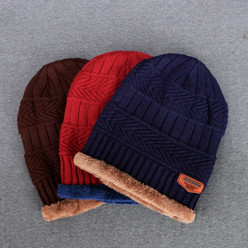 2018 Fashion Men's Winter Knitted Hat Soft Fluff Warm   Beanies   Thick and Bonnet   Skullies     Beanies   Solid Caps Cotton Men's hat