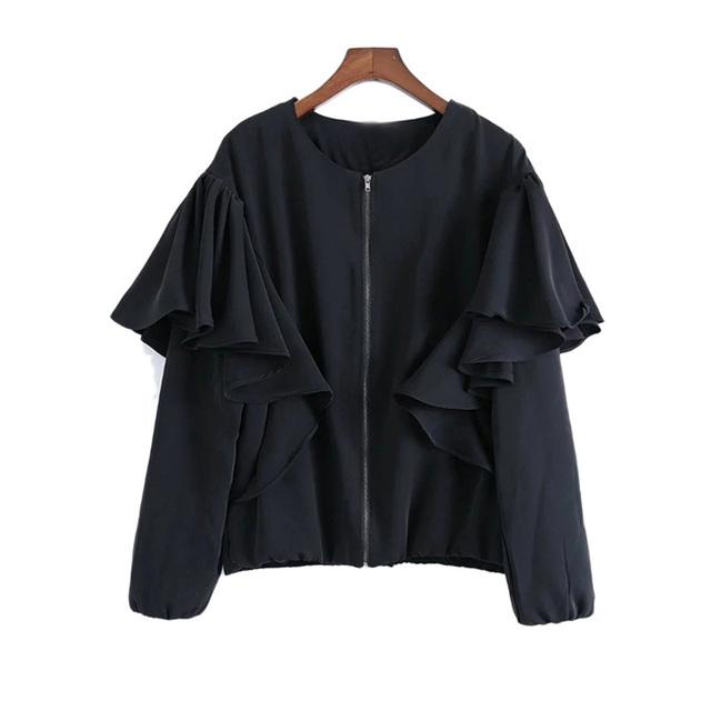 Europa en la primavera de 2017 nueva moda del todo-fósforo de las mujeres falbala collar capa de la chaqueta floja femenina