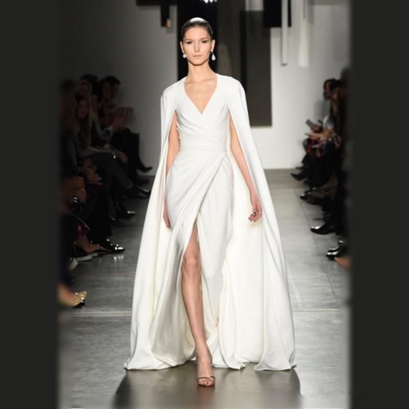 Mode fendue côté robe de bal col en v Long Train Cape Style grande taille robe de soirée formelle