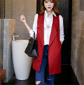 Fashion Spring Waistcoat Sleeveless Blazer Lapel Jacket Vest Slim Coats Solid None-Button Long Women Vests Tops