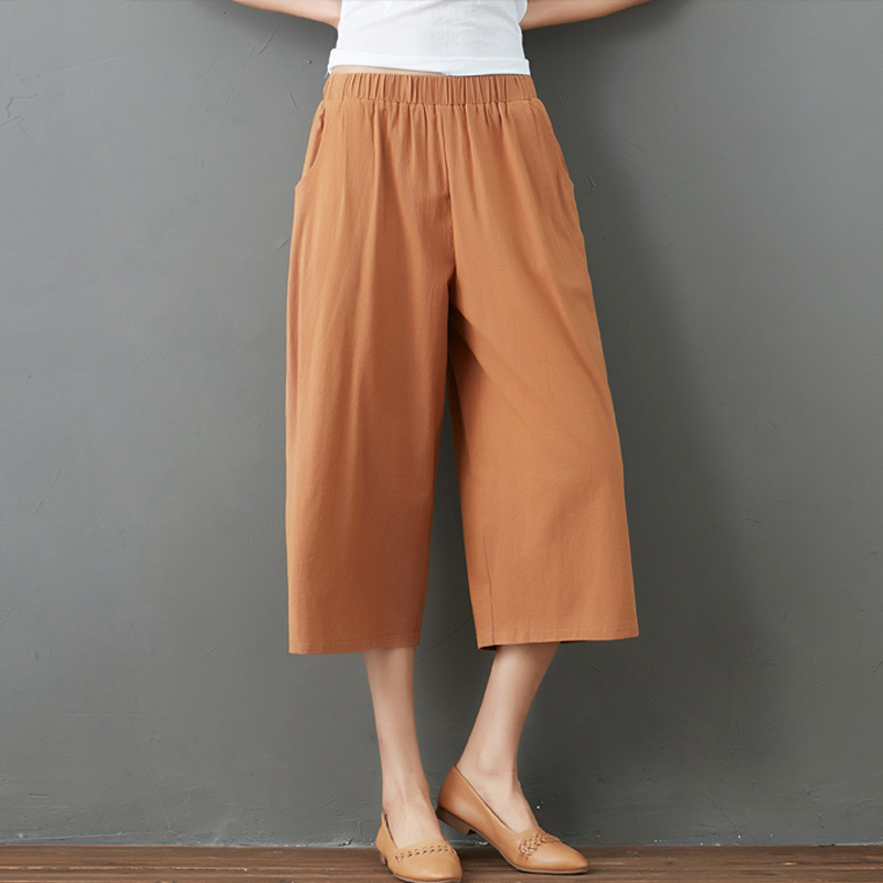 New Fashion 2018 Women's Vintage Casual Wide Leg   Pants     Capris   Female Summer Loose Cotton Linen   Pants   Elastic Waist Trousers