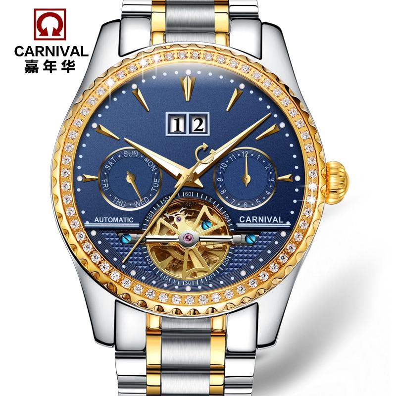 Carnevale tourbillon meccanico automatico marca famosa mens orologi di moda in acciaio pieno impermeabile luminoso orologi di lusso esercito oro