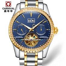 Carnaval tourbillon automatique mécanique célèbre marque mens montres mode pleine acier étanche lumineux luxe armée montre or