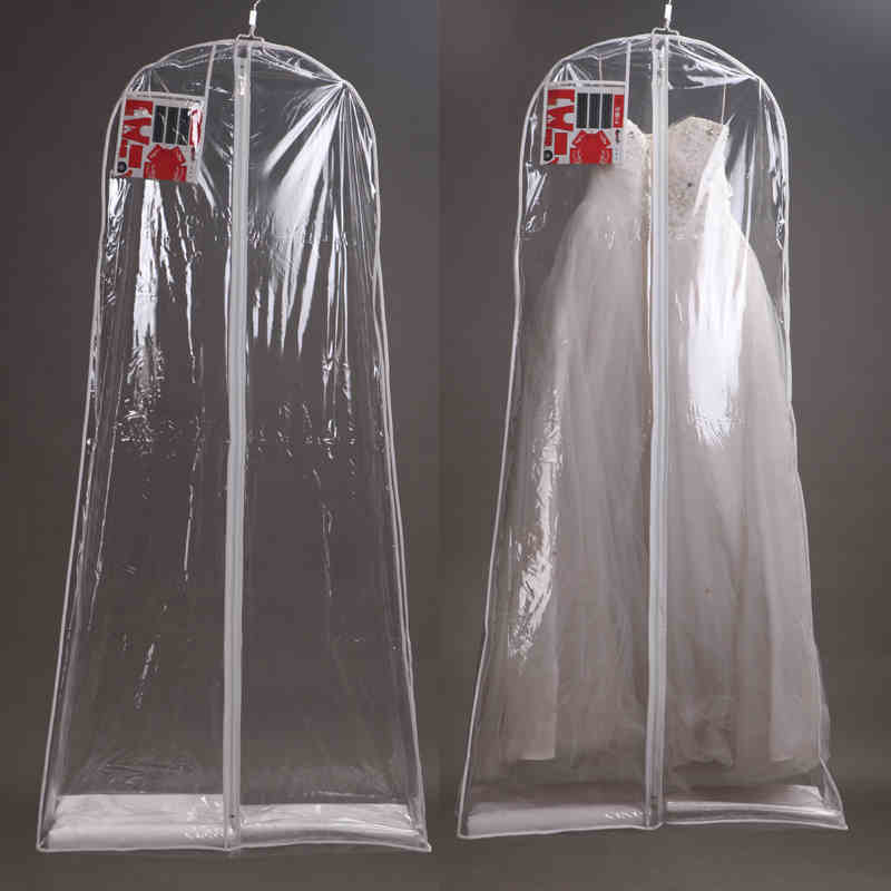 Wedding Gown Garment Bag: Clear Wedding Dress Cover Storage Bags Dustproof Large