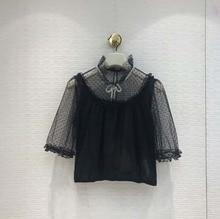 2019 Summer womens high quality Polka dot lace Shirts A559