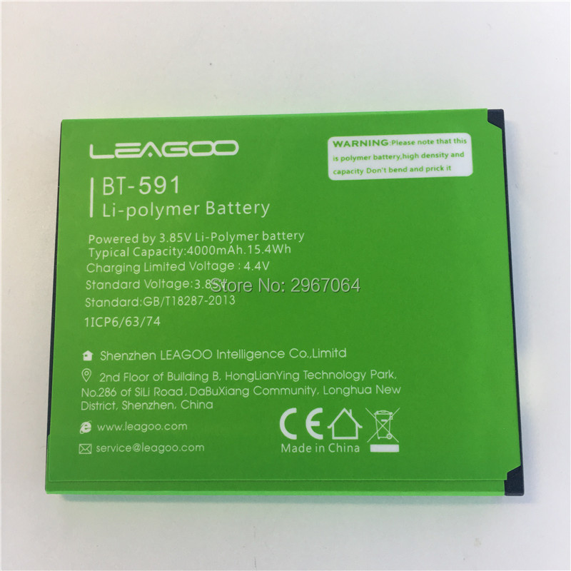 Mobile phone battery LEAGOO BT-591 battery kiicaa power 4000mAh Original battery LEAGOO Mobile Accessories
