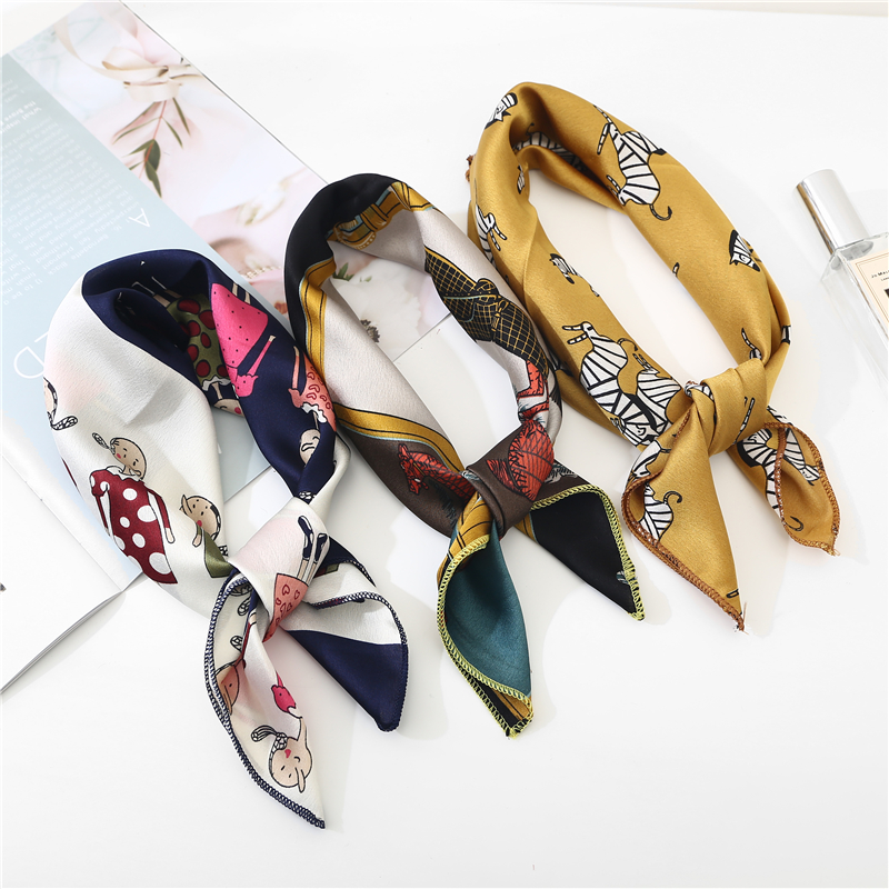 Square Scarf Hair Tie Band For Business Party Dots Print Women Elegant Small Vintage Skinny Retro Head Neck Silk Satin Scarf
