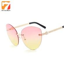 Sin Montura moda Cat Eye Sunglasses Mujeres Diseñador de la Marca Transparente de Gran Tamaño Gafas de Sol Para Damas Espejo Shades Mujer Zonnebril