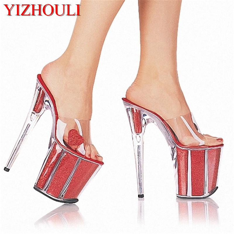 Fashion Ultrafine 20cm High-Heeled Shoes Crystal Shoes 8 Inch Platform Core Sexy Stripper Shoes Open Toe RED Princess Shoes 20cm sexy ultra high heeled platform shoes performance shoes platform black pu leather single shoes 8 inch fashion crystal shoes
