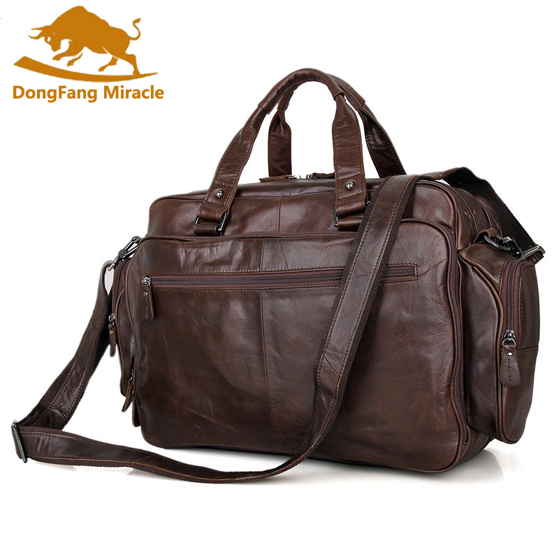 DongFang Miracle 100% Real Leather Trendy Travel Bags Handbag Laptop Bag Duffel Bags Shoulder Messenger Bag HandbagsDongFang Miracle 100% Real Leather Trendy Travel Bags Handbag Laptop Bag Duffel Bags Shoulder Messenger Bag Handbags