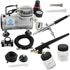 OPHIR 110V 220V 2 Airbrush Kit Air Compressor Dual Single Action Spray Air Brush Set For