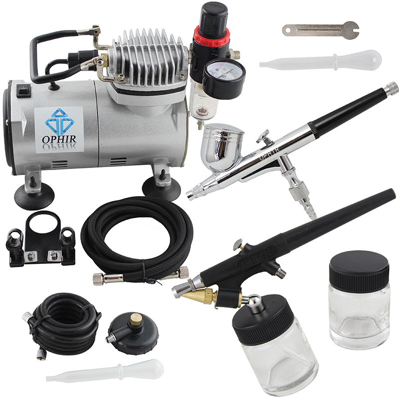 OPHIR Dual Action Airbrush Kit with Air Compressor for Nail Art Single Action Air Brush Spray Gun pro model auta _AC089 + 004 + 071